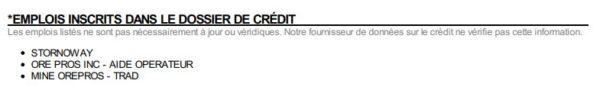 Emplois affichés sur le rapport de crédit