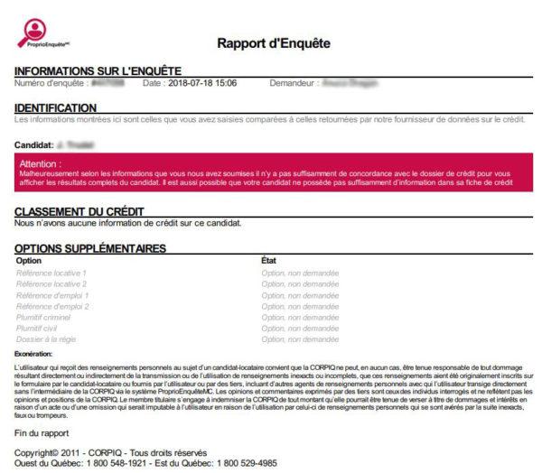 aucune information n'apparaît sur le rapport de crédit